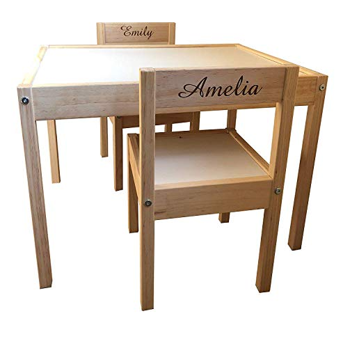 MakeThisMine Personalised Childrens Kids Ikea Table and Chairs 2 Names (Engraving Back)