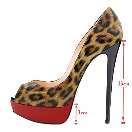 Eks Dames Stiletto Peep Toe Gradiënt Dress-party Pompen Leopard Lakleer