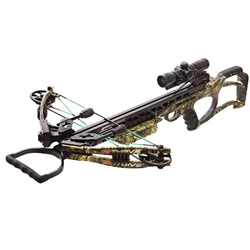 PSE Thrive 365 Mossy Oak Country | 365 FPS | 175 lbs Draw Weight | Includes 4x32 Illuminated Multi-Reticle Scope | Auto Safety & ADF (Auto Crossbow)