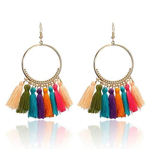 IDB Delicate Fringe Hoop Tassel Earrings with a Large 3 13/16