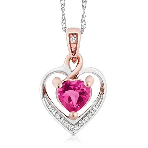 Gem Stone King 10K White and Rose Gold Pink Mystic Topaz and Diamond Heart Shape Pendant Necklace (0.60 cttw, With 18 inch Chain)