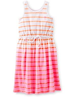 Carter;s Little Girls Stripe Tie Dye Sundress (6 Months, Pink)