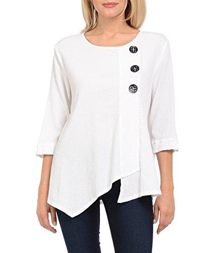 Focus Fashion Women's Cotton Crinkle Gauze Tunic-CG102 (Medium, White)