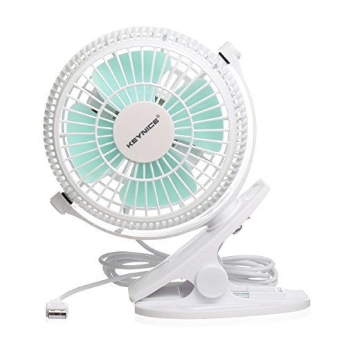 Keynice USB Clip Desk Personal Fan, table fans,clip on fan,2 in 1 Applications, Strong Wind, 2 in 1 Applications, Strong Wind, 4 Inch 2 Speed Portable Cooling Fan USB Powered by NetBook, PC