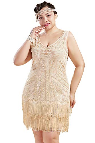 BABEYOND Women's Plus Size Flapper Dresses 1920s V