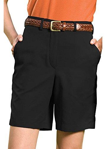 Edwards Women's Microfiber Flat Front Shorr 9/9.5 Inches Inseam, BLACK, 6 Microfiber Flat Front Shorts