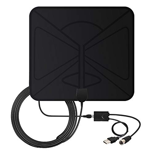 HDTV Antenna, 2018 Indoor Digital TV Antenna 50 Miles Range with Amplifier Signal Booster,4K 1080p HD High Reception with USB Power and 10FT High Performance Coaxial Cable