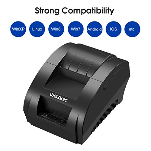 WELQUIC 58MM USB Thermal Printer,High Speed, Compatible with Android & IOS & Windows & Linux systems and ESC / POS Print Commands Set Sales Receipt Printers