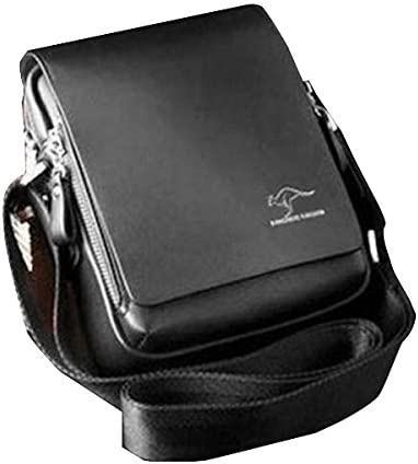 Mens Vertical PU Shoulder Bag Messenger Bag Black Size L