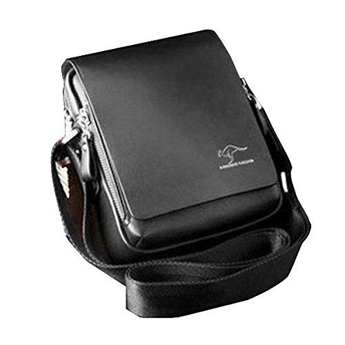Tinksky Men's Vertical PU Shoulder Bag Messenger Bag gifts for men - Size M (Black)