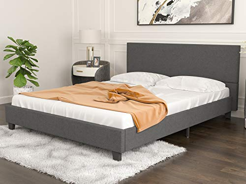 Mecor Upholstered Linen Platform Bed Frame – Mattress Foundation with Wooden Slats Support – No Box Spring Needed, for…