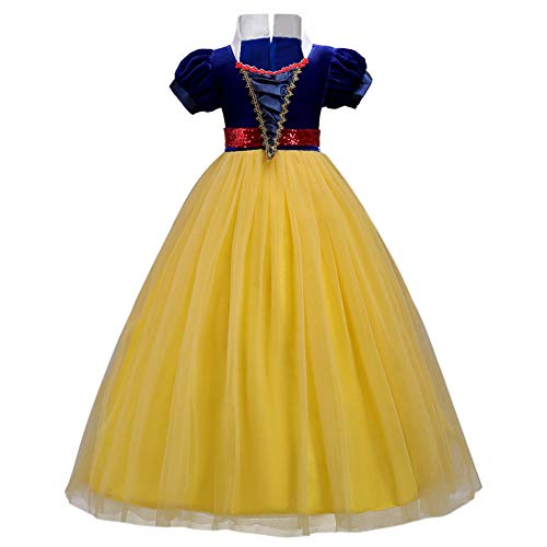 OwlFay Girls Princess Snow White Costume Dress Velvet Sequins Halloween Party Fancy Dress up Cosplay Cartoon Queen Transforming Dress Pageant Long Dresses Gown for Kids Birthday Yellow 12-13Y ()