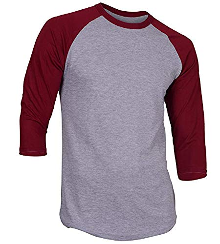 DREAM USA Men's Casual 3/4 Sleeve Baseball Tshirt Raglan Jersey Shirt H Gray/Burg 2XL