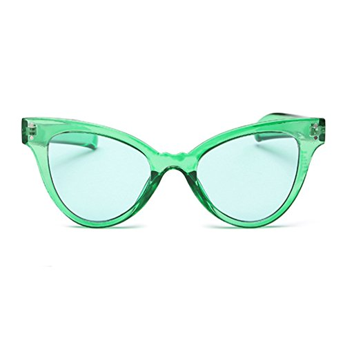 Armear Cat Eye Sunglasses Transparent Frame Tinted Women Sunglasses Trendy Oversized - Green Eye Glasses