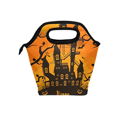 My Little Nest Insulated Cooler Tote Lunch Bag Happy Halloween Scary Castle Work Picnic Food Organizer Lunchbox for Women Men -