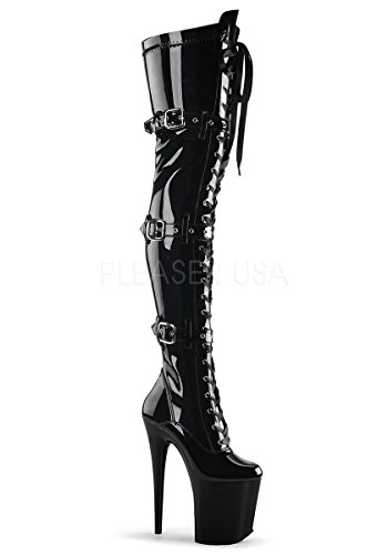 Pleaser FLAMINGO-3028 Women's Platform Lace-Up Front Stretch Thigh High Boot, Color:BLACK STR PATENT/BLACK, Size:8 by Pleaser
