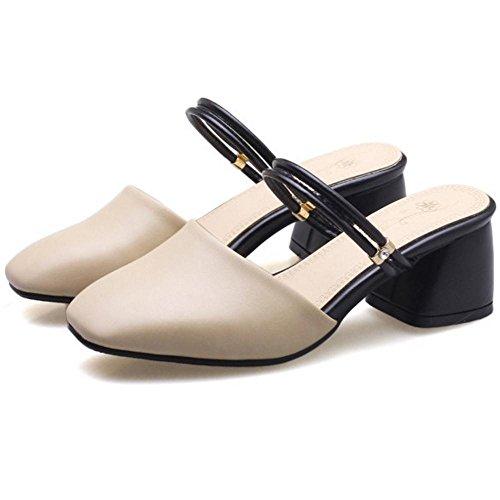 KemeKiss Slip Beige Square Women Sandal Toe On g6gST