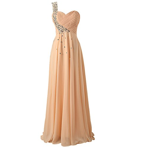 Mic Dresses Long Formals One Shoulder Chiffon Evening Gown Prom Dresses for Women (US 16, Champagne)