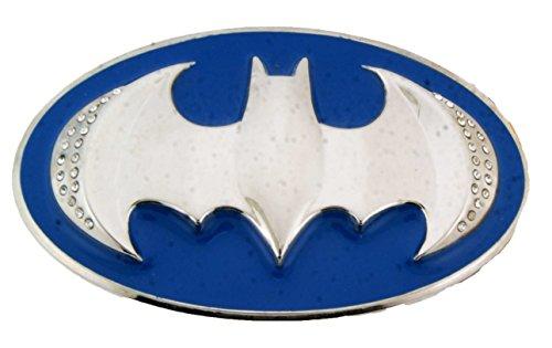 Batman DC Comics Dark Knight Officially Licensed Metal Belt Buckle US Superhero (Blue and Silver with Rhinestones) ()