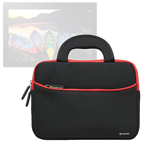 Evecase Lenovo Tab3 10 / Lenovo TAB 2 A10-70 10.1-Inch Tablet Neoprene Sleeve Case Slim Briefcase w/ Handle & Accessory Pocket / Ultra Portable Travel Carrying Case Sleeve Portfolio Pouch Cover - Black