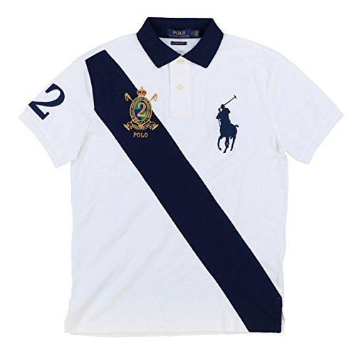 Custom Fit Crest Polo - Polo Ralph Lauren Men's Big Pony Crest Custom Slim Fit Mesh Sash Polo Shirt (Medium, White MU)