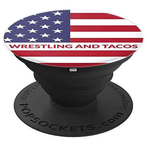 Design Wrestling - USA Wrestling Pop Socket Wrestling and Tacos Design - PopSockets Grip and Stand for Phones and Tablets