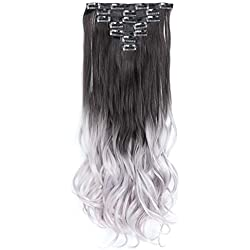High Temperature Fiber hair Synthetic Clip in Hair Extensions 7Pcs 1 Set 130g Full Head Clip In Hair Extensions (22inch, 1B/3904)