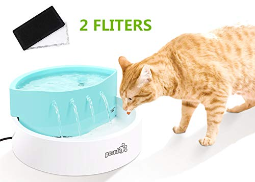 Pecute Cat Water Fountain 45 dB Ultra-Quiet Automatic Circulation USB Electric Water Feeder 1.6L with 2 Filters, Great for Cats, Small Dogs Drinking Indoor Outdoor Use