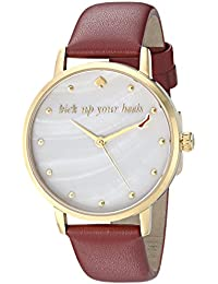 Women's 'Metro' Quartz Stainless Steel and Leather Casual Watch, Color:Red (Model: KSW1209)