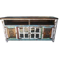 Hiend 72 Inch Rustic Western Multi Color Antique Distressed Reclaimed Wood Look TV Stand Solid Wood Already Assembled