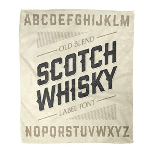 Golee Throw Blanket Western Scotch Whiskey Label Alphabet Beer Old Bar Whisky English 60x80 Inches Warm Fuzzy Soft Blanket for Bed Sofa ()