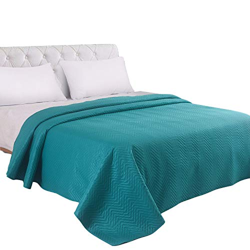 LITHER bedspreads King Size Oversized Quilt Coverlet Waved Pattern Solid Color(Teal, 102x96inch) Machine Washable (Teal Bedspread King)