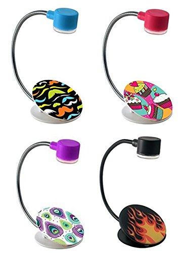 Extra-Bright Compact 2 LED Book Reading Light Lamp - Soft Padded Sturdy Clamp – Flexible Metal Neck - Bed, Office Desk, Travel, Camping, Portable Emergency Flashlight – Multi Color-Pack (Light Set Book)