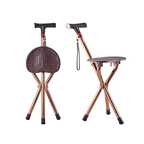 Hongyuantongxun Folding Chair, Elderly Cane Stool Multi-Function Belt Sitting Light Non-Slip Walking Stick Four-Legged Cane Folding Smart Abduction Chair, Champagne Gold (Color : Gold, Size : 8055cm)