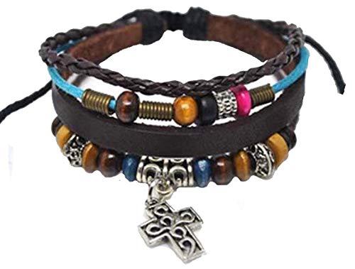 - 4030063 Christian Cross Leather Adjustable Bracelet Religious Scripture Inspirational