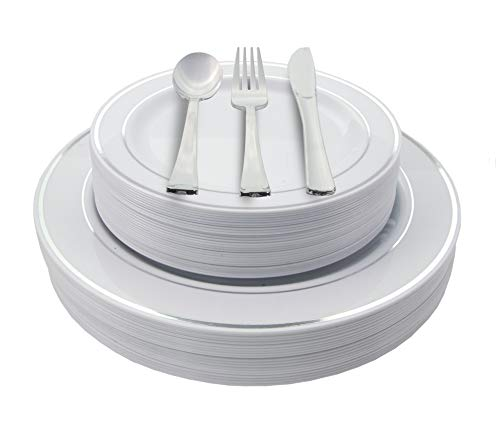 200 Piece Heavyweight Party Disposable Plastic Plates and Cutlery Set Includes 40 Dinner Plates 40 Dessert Plates and 40 Pieces of Glossy Silver Plastic Forks Knives and Spoons ()