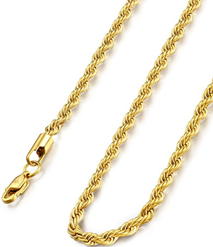 FIBO STEEL 4MM Stainless Steel Mens Womens Necklace Twist Rope Chain, 22 inches