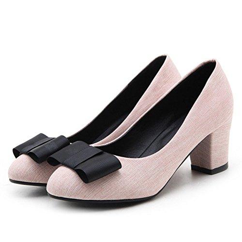 Pink Pumps Heel Sweet TAOFFEN Bowknot Block Women WfatYxOqwT