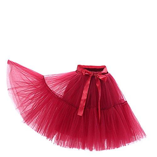 SaiDeng Femmes Lache lev Tour De Taille Vintage Princesse Gaze Long Tutu Pliss Jupe Vin Rouge