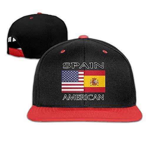 Spain American Flag Men's Adjustable Snapback Hip Hop Dad Hat Cap Flat Brim White Baseball Cap for Men Women
