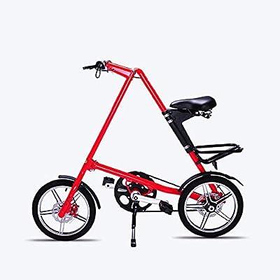 JEANN-roadbike Bicicleta portátil para Adultos Plegable, Rueda de 16 Pulgadas Los Frenos de Disco Dobles Son más Seguros de Manejar Adecuado para Viajes Cortos,Red,16inch: Amazon.es: Deportes y aire libre