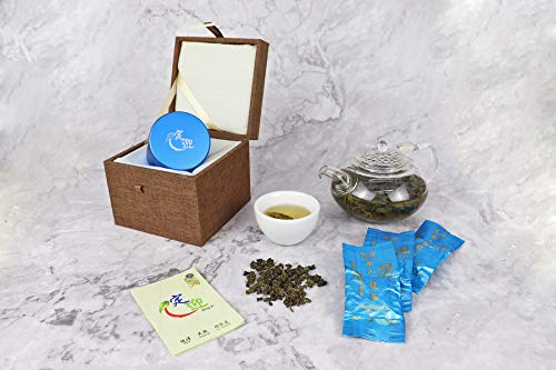 DING IN Lishan Oolong Tea Horn Buckle Wooden Box 10g3bag/can X2 by Ding In ltd. (Image #2)