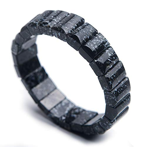 LiZiFang Genuine Natural Black Dendritic Agate Gemstone Crystal Rectangle Bead Bracelet