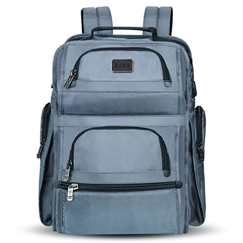 Large Backpack, Laptop Backpack, Travel Backpack with USB Charging Port for Men Womens Boys Girls, Water Resistant College School Bookbag Computer Backpack Fits 17.3 Inch Laptop & Notebook(Grey)