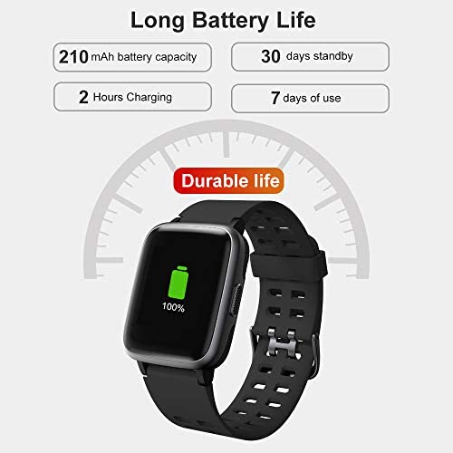 YAMAY Smart Watch for Android and iOS Phone IP68 Waterproof, Fitness Tracker Watch with Heart Rate Monitor Step Sleep Tracker, Smartwatch Compatible with iPhone Samsung, Watch for Men Women