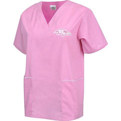 Scrub Dudz Women's Scrub Top, Baltimore Ravens, Pink]()
