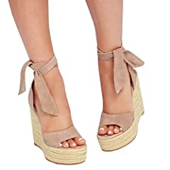 Seraih Womens Lace up Platform Wedges Sandals Classic Ankle Strap shoes 100% brand new and high quality, comfortable to wear, very fashionable  Product Detail Material: Suede, Espadrille Features: Super cute wedge sandals, platform wedge heel...
