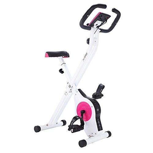 Xspec Foldable Stationary Upright Exercise Bike w/Heart Rate 8-Level Magnetic Resistance LCD Monitor Adjustable Cardio Workout Indoor Cycling