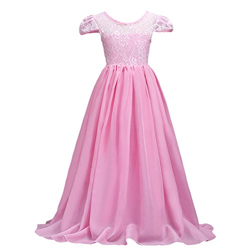 Flower Girls Junior Bridesmaid Long Chiffon Lace Wedding Dress Pageant Graduation Teens Ceremony Dance Maxi Gown 7-16 Pink 15-16T (For Dresses Teens Weddings For)