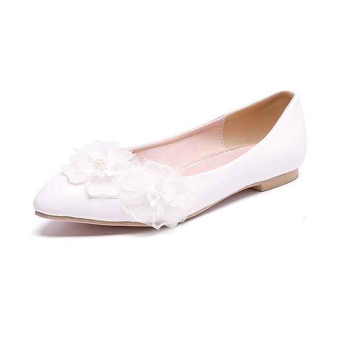 0adae8c246f Q&YYUE Mujer Ballet Nupcial Zapatos de Boda Bajo Tacón Plano Encaje  Artificial PU Sandalias: Amazon.es: Ropa y accesorios